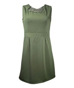 Another great find on #zulily! Green Embellished Budleia Sheath Dress by Mismash #zulilyfinds