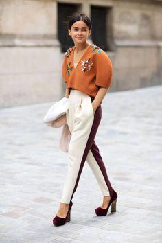 miroslava duma -- love her tuxedo pants and the beading on her crop top