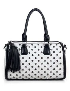 #Gothic Studded Skeleton Fringe PU Leather Woman's Tote Bag - Milanoo.com
