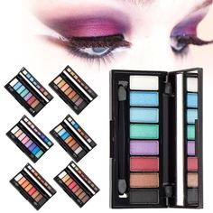 Fashion 8 Colors Shimmer Eyeshadow Palette Eye Shadow Palette Wedding Eye Makeup Cosmetic With Brush Y2 #Affiliate