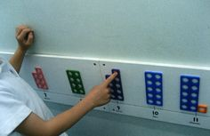 Numicon number line Maths Eyfs, Preschool Math, Teaching Math, School Displays, Classroom Displays, Math Classroom, Early Years Maths, Early Math, Math For Kids