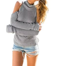 Stella Grey Cut Out Shoulders Sweater