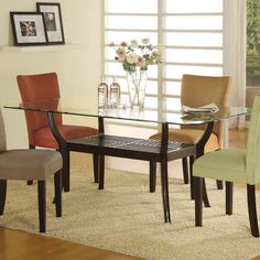 101491 Bloomfield 5 Piece Rectangle Dining Set-This beautiful casual dining table and chair set will add a sophisticated touch to your contemporary home. The sleek round ten millimeter thick beveled glass top is elegant, above a unique crossing woode Glass Dining Room Table, Kitchen Dining Sets, Modern Dining Table, Dining Room Sets, Dining Chair Set, Dining Room Furniture, A Table, Dining Tables, Furniture Design