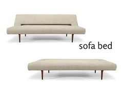 This gorgeous, sleek convertible sleeper sofa is surely an eye-catching piece of furniture with its durable quality and cross generational appeal. It features walnut stained wooden legs, brown colored linen and minimalist lines. French Country Sofa, French Country Furniture, Mid Century Modern Sofa, Mid Century Modern Furniture, Sleeper Sofa, Sofa Bed, Banquette Bench, Hollywood Regency, Sofa Furniture