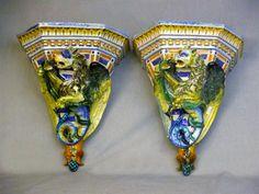 a pair of cantagalli italian maiolica tin glazed pottery wall brackets in 17th century style