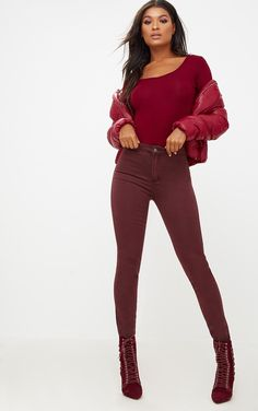 Burgundy High Waisted Disco Jean. Shop the range of Denim today at PrettyLittleThing; Express delivery available. Order now. | PrettyLittleThing