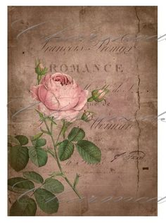 Vintage postal con rosas Romance decoupage. intage post with roses and romance for decoupage.