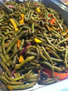 Chef Justin's fresh green beans with sautéed bell peppers, red onion, and mushrooms