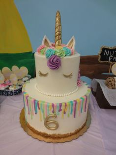 Two tier unicorn cake Birthday Menu, Unicorn Themed Birthday Party, 3rd Birthday Cakes, Unicorn Birthday Parties, Sweets Cake, Cupcake Cakes, Cupcakes, Birtday Cake, Rainbow Unicorn Party