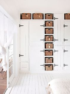 Oversize Hinges on Closet - Wicker Baskets