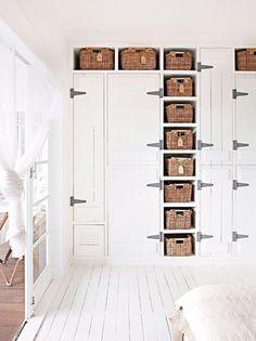 Oversize Hinges on Closet - Wicker Baskets