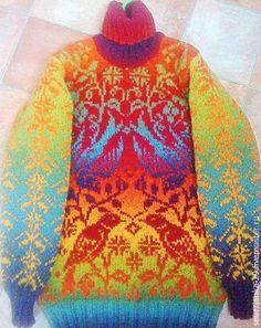 """Купить Теплый чистошерстяной свитер """"Соловьи"""".Эстонская шерсть.Жаккард - свитер, свитер вязаный"""