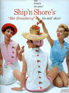 Ship'n Shore blouses/Cutex cosmetics-Seventeen Magazine, 1958 (blonde on the right is actress Tippi Hedren)