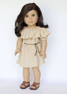 American Girl doll sized off the shoulder dress with belt - khaki by EverydayDollwear on Etsy     Reminds me of Ariel when she first transforms into a human!