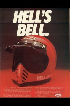 Throwback Thursdays: Bell Helmet's awesome advert for the Bell Moto III. Enduro Vintage, Vintage Motocross, Vintage Bikes, Retro Vintage, Motocross Helmets, Racing Helmets, Motorcycle Style, Motorcycle Outfit, Bell Moto 3