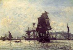 Johan Barthold Jongkind - Sailing ships at Honfleur