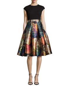 TAQ0E Ted Baker London Eana Cap-Sleeve Fit-&-Flare Dress, Black