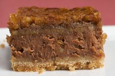 Chocolate Pecan Cheesecake Bars...again, looks a little scruffy but, as an alternative to a chocolate pecan pie at Thanksgiving, could be an idea!