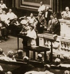 Jeannette Rankin making her first speech to the House of Representatives in August, 1917. Rankin was the first woman elected to Congress and the only member of the House to vote against U.S. participation in both World War I and World War II.    and her name was Jeannette too bad it was spelled with two Ns but just self explains what a cool name it is ;) ha