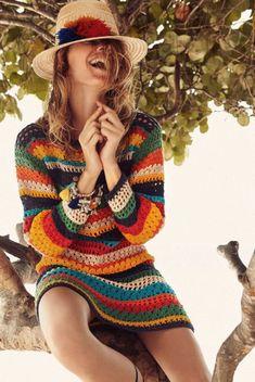 Fabulous Crochet a Little Black Crochet Dress Ideas. Georgeous Crochet a Little Black Crochet Dress Ideas. Crochet Fashion, Diy Fashion, Ideias Fashion, Hippie Top, Hippie Style, Boho Hippie, Moda Crochet, Knit Crochet, Crochet Clothes