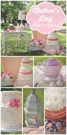 A gorgeous Mother's Day party with layer cakes, flowers and decor!  See more party ideas at CatchMyParty.com!