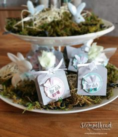 Goodies für die Ostertafel Treat Holder, Stamping Up, Holiday Treats, Goodies, Place Card Holders, Food, Diy, Easter Bunny, Boxes