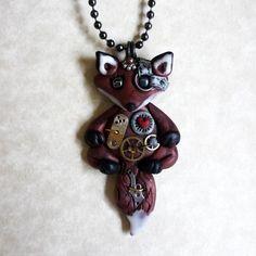 Steampunk Fox Necklace Polymer Clay Jewelry. $24.00, via Etsy.