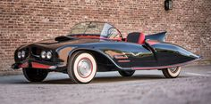""""""" The first Batmobile, built three years before the BATMAN TV series. DC Comics approved this Batmobile in 1963 and it toured the country. The car, which was originally a 1956 Oldsmobile was lost. Original Batmobile, Moto Collection, Muscle Cars, Oldsmobile 88, Batman Tv Series, Batman Cast, Under The Hammer, Spiegel Online, Products"""