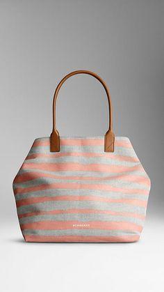 Pl stone/pl crl pnk Medium Canvas Stripe Tote Bag - Image 1