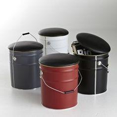 Puff cubo de almacenaje de metal Hiba LES PETITS PRIX - Sillones y Pufs
