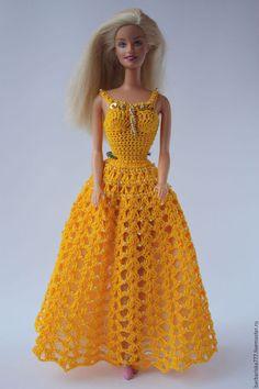 Одежда для кукол ручной работы. Заказать Барышня в желтом. Барбариска. Ярмарка Мастеров. Подарок на день рождения, нитки хлопок, органза