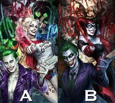 The Joker and Harley Quinn, movie and comic book versions.