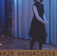 blue aesthetic// black dress // short hair