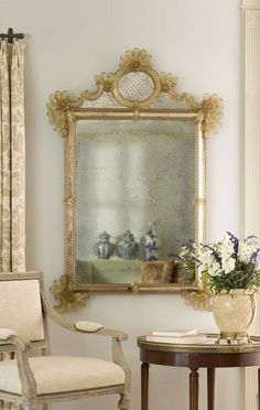 Room decor with stunning antiqued Venetian glass mirror from Murano Island (Italy); mirror is available at InvitingHome.com