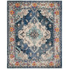 Safavieh Monaco Mahal Navy/Light Blue Square Indoor Machine-Made Oriental Area Rug (Common: 7 X Actual: W X Light Blue Area Rug, Blue Area Rugs, Monaco, Classic Rugs, Navy Rug, Traditional Area Rugs, Polypropylene Rugs, Blue Square, 9 Square