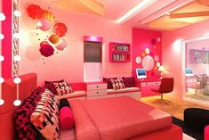 Bright Pink Colors Theme Decoration in Modern Teenage Girls Bedroom Furniture Decorating Ideas Beautiful Pink Bedroom Decorating for Teenagers Girls