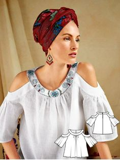 Let the shoulders show a sexy flash of skin with this cold shoulder blouse sewn in a gleaming white linen. Wide bands shape the exaggerated neckline. Add an exotic finish to your style with a scarf wrapped into a turban.