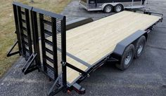 This Implement Trailer Features a Split Rear Ramp, a Drop Leg Set-Back Tongue Jack, and a Pintle Style Coupler. Call for more information on this trailer. Car Trailer Ramps, Car Hauler Trailer, Box Trailer, Trailer Diy, Trailer Plans, Trailer Build, Semi Trailer, Utility Trailer, Trailer Remodel