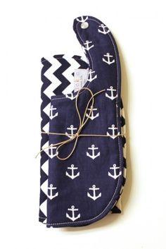 anchor plus chevron baby bib set
