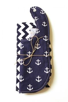 anchor plus chevron baby bib set