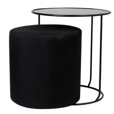 Black Pouffe and Side Table Bahi | Maisons du Monde