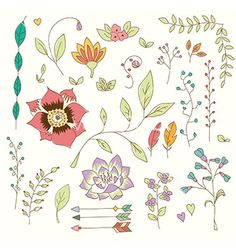 Hand drawn vintage flowers and floral elements vector 4424585 - by bluelela on VectorStock®