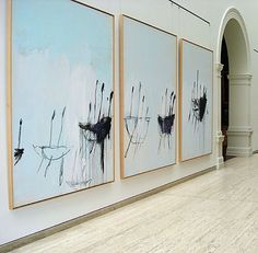 Great way to hang large abstract works. Art by Cy Twombly....