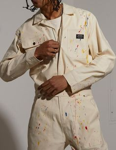 Relaxed Fit Custom Hand Treated Paint SplatterHeavyweight Duck CanvasCustom Hardware w/ Craftsmen PocketsHTG® Woven Label98% Cotton, 2% Spandex Model is 6'2inXL Size Guide 2 In, Raincoat, Asos, Label, Jumpsuit, Hardware, Spandex, Sleeves, Cotton