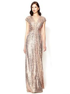 Badgley Mischka Collection Sequin Wrap Bodice Gown