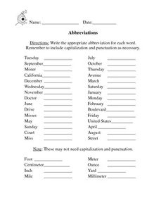 This A Worksheet Where Students Must Abbreviate Common Titles Locations Days Of The Week