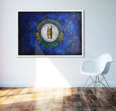 Hand painted Flag of Kentucky State. Wall Art