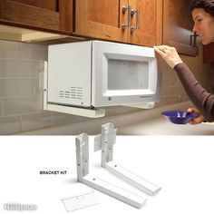 Tuck the microwave under your cabinets to get it off the counter. Microwave ovens are the biggest space hogs on most countertops. With a few models, manufacturers offer optional mounting kits that let you mount the microwave under cabinets. To raise your old microwave, consider the sturdy brackets shown here. But first measure its height and the height of the space above the countertop; with a larger microwave, you might find that the space under it will be too small to be useful. Plus…