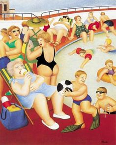 Bathing Pool ~ Art by Beryl Cook Beryl Cook, Plus Size Art, Good Day Sunshine, Fat Art, English Artists, British Artists, Family Picnic, Fat Women, Naive Art