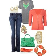 Coral & Green, created by yjmunson.polyvore.com